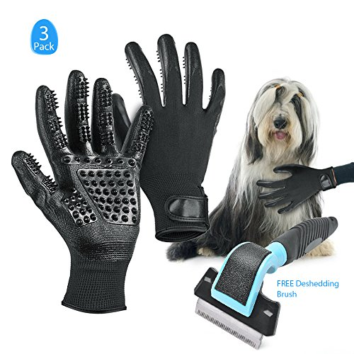 Wolfwill Pet Rubber Massage Grooming Gloves, [5 Fingers] Pet Grooming Mitt with FREE Deshedding Brush Set for Dogs Cats Horses Hair Remover (1 Pair)