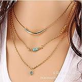 ZHOUBINBIN gesäumt Multi Halskette Türkis Messing Schlauch blau Auge Elegante Hündin Stil