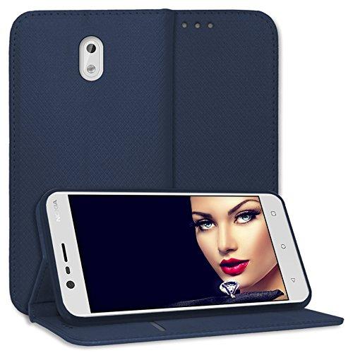 mtb more energy® Schutz-Tasche Bookstyle für Nokia 3 (5.0'')| dunkelblau | Kunstleder | Klapp-Cover Hülle Case