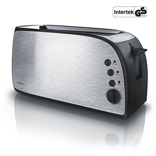 Arendo - Automatik Toaster Langschlitz | Defrost Funktion | wärmeisolierendes Gehäuse | abnehmbarer Brötchenaufsatz | 1200W-1500W | | 7 Stufen | herausziehbare Krümelschublade | Neues Modell 2017 - verbesserte Bräunungsstufen -