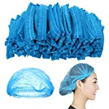 TAOtTAO 100 Einweg-Staubkappen Duschhauben Arbeitshaube des Chefkochs Staub Einweg Dusche Plissee Anti Non Woven Caps Hut Hair Set Salon Spa Hut (Blau)