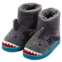 LULEX Boys Girls Winter Warm Plush Comfy Shark Bedroom Bootie Slippers(Toddler/Little Kid)
