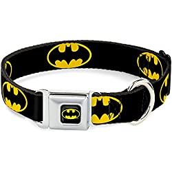 "Batman Seat Belt Buckle Dog Collar 1.5"" 13-18"""