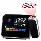 Orologio Proiezione, Hangrui Sveglia Digitale con Proiezione e Allarme Ora, Display a LED,Snooze,Ricarica USB,Nero
