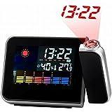 Reloj Despertador, Hangrui Despertador proyector Despertador Digital con Temperatura Interior, LED Alarma, Puerto de Carga USB, Negro