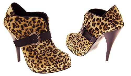Poshh! Damen faux Wildleder Stiefel Leopard-print