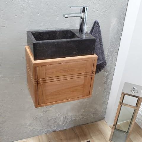 Tikamoon 1781 Basic Meuble Lave main salle de bain suspendu Teck Beige 38 x 25 x 30 cm