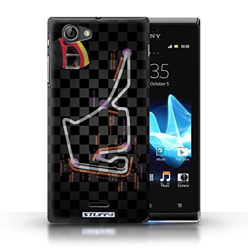 Kobalt® Imprimé Etui / Coque pour Sony Xperia J (ST26i) / USA/Austin conception / Série 2014 F1 Piste Allemagne