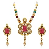 Apara COPPER NECKLACE SET WITH RED CHECK...