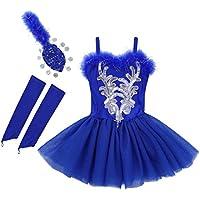 dPois Vestido Maillot Ballet Danza Niña Chica Tutú Flor Princesa Vestido  Lentejuelas Brillantes + Guantes + a8629a5a981