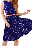 OMZIN Frauen Fit und Flare Midi Hohe Taille Print Vintage Swing Kleid Blau XS