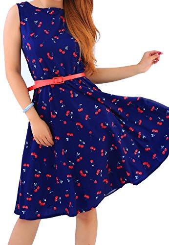 OMZIN Womens Vintage 50er Jahre inspiriert Swing Abendkleid Kleid Party Kleid blau 3XL (Vintage-rock Größe Plus)