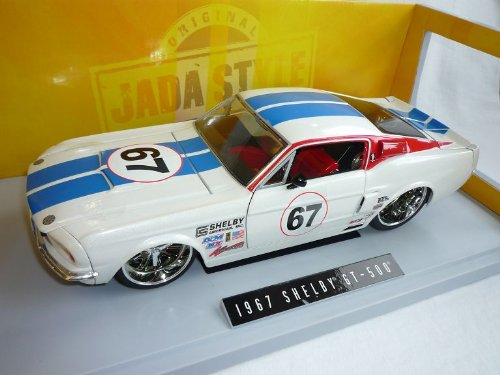 Jada Ford Mustang Shelby Eleanor Gt500 Gt-500 1967 Weiss Blau Nr 67 Streifen Tuning 1/18 Modellauto Modell Auto