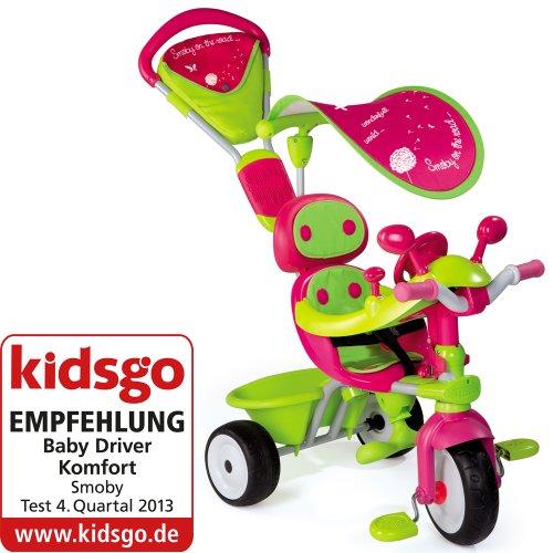 Preisvergleich Produktbild Dreirad, abnehmbare Doppel Schiebestange, Metallrahmen, Gurt Tasche und Sonnendach, Mitwachsendes Kinderfahrzeug mit Flüsterreifen, Pedal-Freilauf und Fußstützen, Schiebewagen ab 10 Monaten