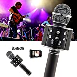 Wireless Bluetooth WS-858 Microphone MIC for Singing Recording Condenser Handheld Karaoke Microphone HI FI Speaker with Party Lights- Black