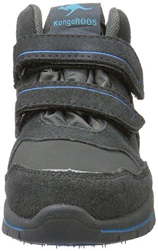 KangaROOS Tarom, Chassures avec fermeture velcro  mixte enfant Gris - Grau (Dk Grey/dk smaragd 286)