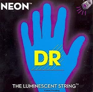 """DR hiDef blue lite 040 060 neon """"- 080 jeu"""" 100 """"4 cordes pour basse électrique (noir/fluorescent dans le noir)"""