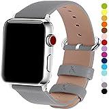 15 Farben für Apple Watch Armband 38mm, Fullmosa® Uhrenarmband Litschi Textur Hauptschicht Rindsleder Lederarmband mit Edelstahlschließe für Apple Watch Series 1 Series 2 Series 3 ,Grau