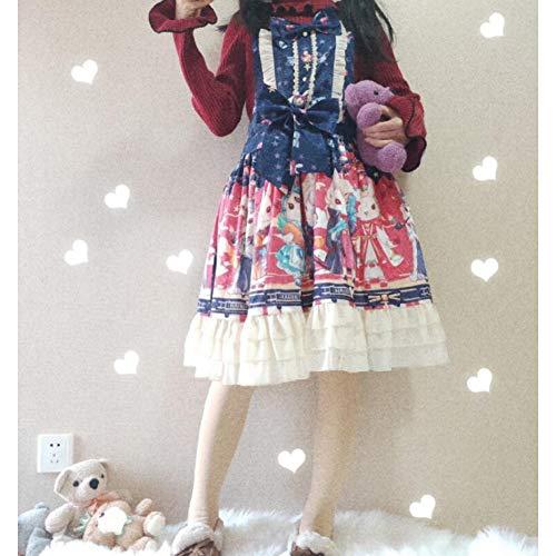 QAQBDBCKL Kaninchen Druck Süße Lolita Kleid Retro Spitze Bowknot Viktorianischen Kleid Tee Party Gothic Kleid Kawaii Mädchen Gothic Lolita Loli -