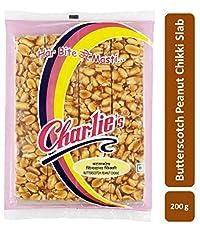 Charliee Slab Chikki - Butterscotch Peanut Chikki - Groundnut Jaggery Chikki - High Protein Snack - Healthy Indian Sweet 200 g Each - Pack of 2
