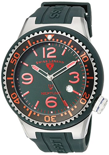 SWISS LEGEND Neptune 21818S-C-MH 52 Stainless Steel Case Rubber Mineral Men's Quartz Watch