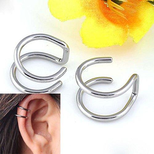 FENGLANG Ohr Fake Piercing Doppelring Ohrklemme Lippenpiercing(Silber)