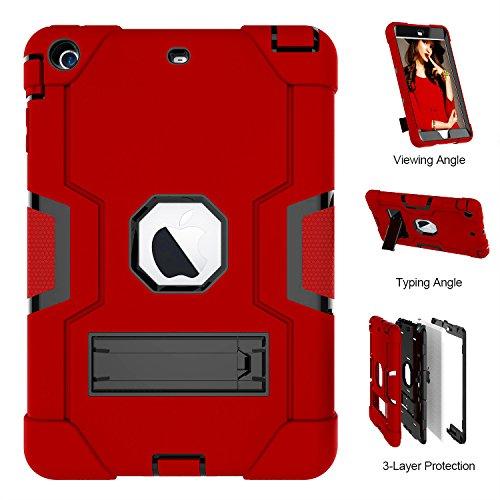 iPad Mini Case, iPad Mini 2Case, iPad Mini 3, uzer (Heavy Duty stoßfest Anti-Rutsch Silikon High Impact Resistant Hybrid Drei Schicht Armor Schutzhülle mit Ständer für iPad Mini 1/2/3, Rot/Schwarz