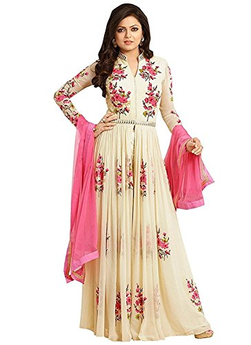 Raju Chopda Women\'s Georgette Semi-Stitched Embroidered Anarkali Gown (Cream Color_Free Size)