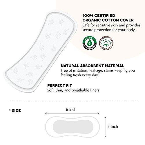 Rael 100% Organische Baumwolle Regular Slipeinlagen, geruchlose Slipeinlagen–Natürliche Tägliche Slipeinlagen