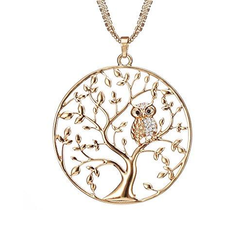 Frauen, Baum des Lebens mit Eule Anhänger Halskette für Mädchen Rose Gold und Silber Halskette mit CZ Crystal Kette Halskette (Vergoldet) ()