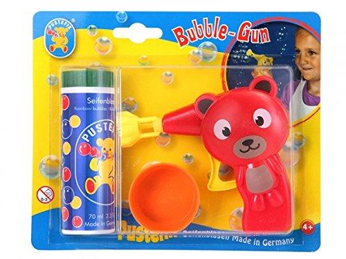 Pustefix, Bubble-Gun, Bär, 10 cm, rot, Seifenblasenpistole