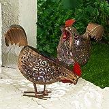 GloBrite Lot de 2 lampes solaires décoratives décoratives en métal Motif poules