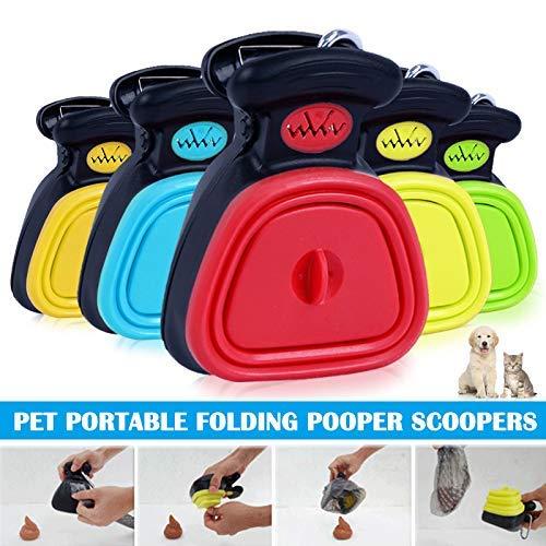 Beverl Hundekotschaufel, faltbar, für Haustiere, zum Reinigen von Kotschaufeln, rot, S