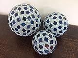 Blue Decorative Balls - Mosaic - Set of 3