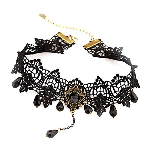 Contever® gotico retro collana girocollo choker con perlina nero in pizzo, lunghezza: 33cm - 40 centimetri