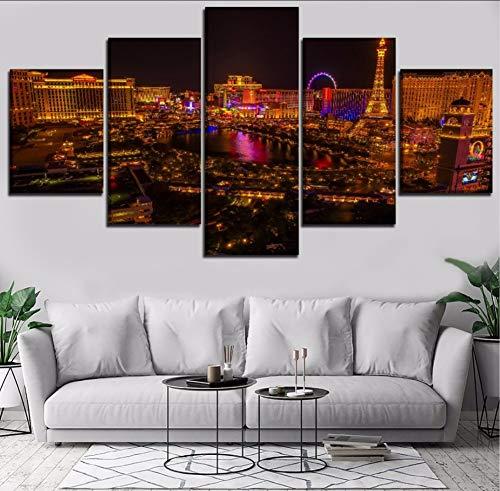 Modulare Leinwandbilder Bilder Wandkunst 5 Stücke Landschaft Stadt Las Vegas Gemälde Wohnkultur Poster Rahmen Moderne Kunstwerke