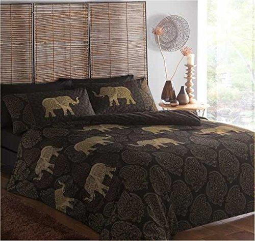 Étnico elefantes Super King, funda de edredón y 2funda de almohada juego...