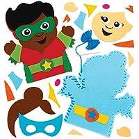 Baker Ross- Kits de costura de marionetas de mano con superhéroes (Pack de 4), Actividad de manualidades infantiles con piezas de fieltro para coser