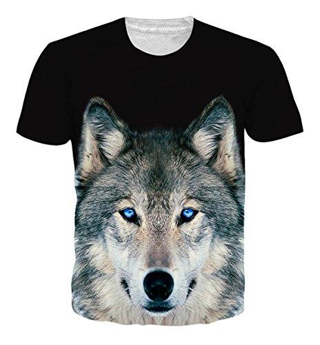Uideazone Hiphop-Art Mens-Wolf-Kurzschluss-Hülsen-T-Shirt Beiläufige Grafik-T-Stücke Schwarzes M (Hop Schwarzes T-shirt Hip)