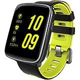 Reloj inteligente, de la marca Gfordt, resistente al agua, con Bluetooth para Android y iOS, correas reemplazables, monitorización de pulsaciones y sensor de pasos, para hombre y mujer