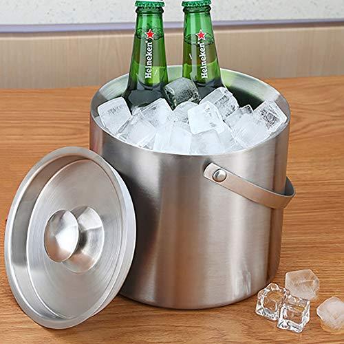 NgFTG Griff Doppelwandiger Eiseimer, Verdicken Sie Eisbehälter Mit Deckel,tragbar Isolierung Champagner Eimer Barware Nicht-Slip-Basis Leicht Zu Reinigen-a 1.6l