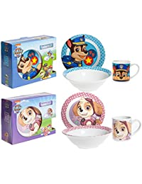 3 Piece Breakfast Bundle of Paw Patrol Porcelain Ceramic Breakfast Sets x 2 (Skye & Chase)