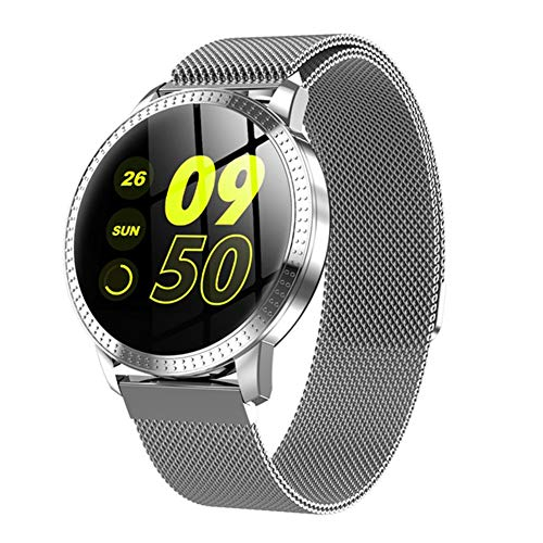 VIWIV Smart Watch CF18 Wasserdicht IP67 1,22 Zoll Blutdrucküberwachung Metall Multi Sport Strap Womens Band Smartwatch Mode,Silver Womens Multi Strap