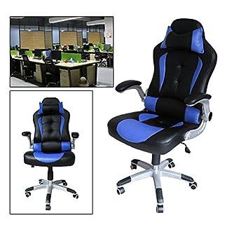 HG® silla giratoria de oficina silla de juego confort premium reposabrazos acolchados silla de carrera capacidad de carga 200 kg altura ajustable negro / azul