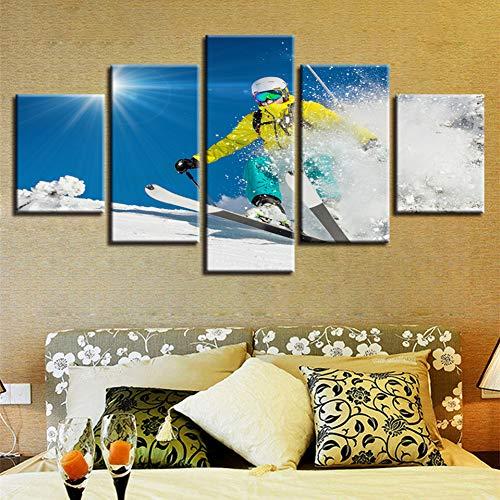QWERGLL 5 Panel Dekor Moderne Hd Drucke Wandkunst 5 Stücke Snowboarden Sport Sonnenschein Landschaft Gemälde Modulare Leinwand Poster -