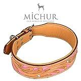 MICHUR Pinklady, Hundehalsband, Lederhalsband, Halsband, LEDER, BEIGE, PINK, MIT STANZUNGEN, in verschiedenen Größen erhältlich - 3