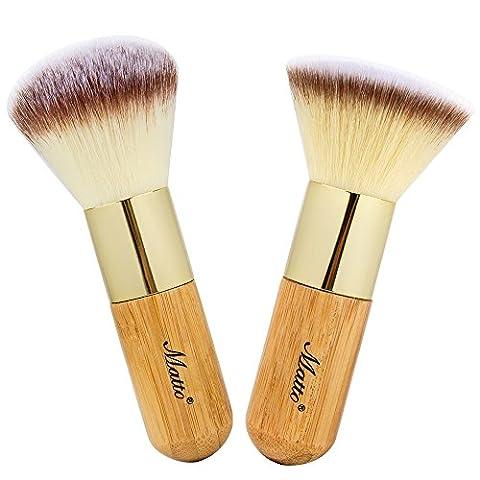 Matto Make Up Brosse de visage Kabuki 2 pièces Bambou Poignées Crème Poudre Mineral Fond de teint Pinceaux de maquillage cosmétique outils
