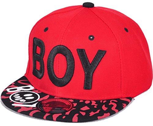 Belsen Kind Hip-Hop Leopard BOY Cap Baseball Kappe Hut, Rot, one size