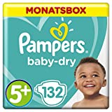 Pampers Baby-Dry Windeln, Gr. 5+, 12-17kg, Monatsbox, 1er Pack (1 x 132 Stück)