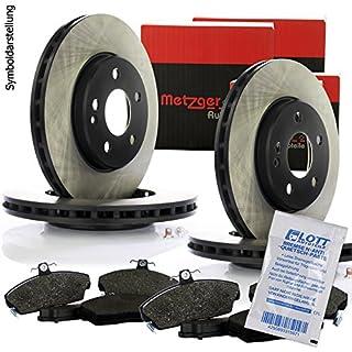 4 Original Metzger Bremsscheiben + Bremsbeläge Bremsklötze Bremsbelagsatz Vorne + Hinten Bremsenset für die Vorderachse & Hinterachse Bremse Komplettset